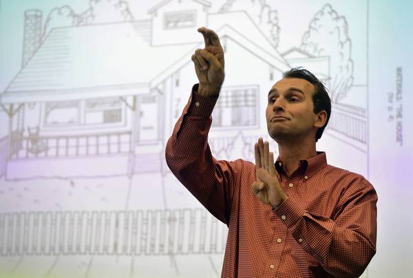 Patrick Boudreault leads a class in American Sign Language at University of California Berkeley on April 23, 2013. ASL is now the fourth most popular language class taught on U.S. college campuses.