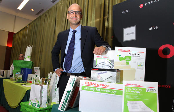 Yalmaz Siddiqui, Senior Director, of Environmental Strategy, for Office Depot shows off some of Office Depot's environmentally friendly products at their Leadership in Greener Purchasing Summit held at their headquarters in Boca Raton.