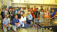 Members of the newly formed Arts Alliance of Greater Waynesboro recently had the opportunity to meet some of the woodshop students from the Waynesboro Area Senior High School who assembled standing and table-top easels for the organization.