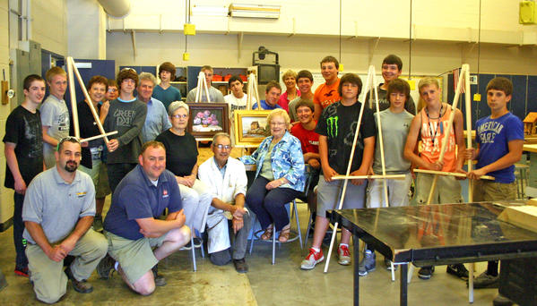 Members of the newly formed Arts Alliance of Greater Waynesboro recently had the opportunity to meet some of the woodshop students from the Waynesboro Area Senior High School who assembled standing and tabletop easels for the organization.