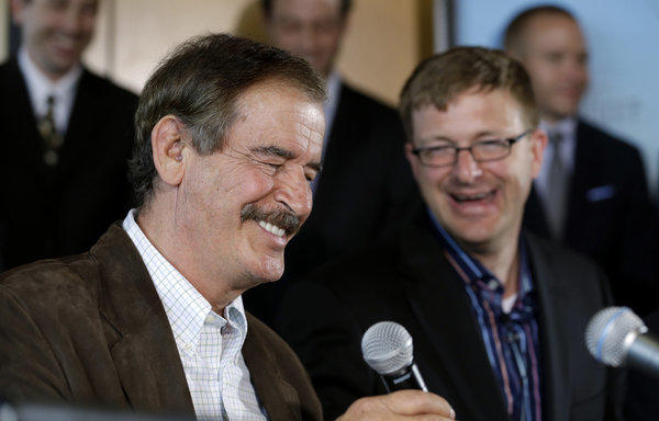 Mexico's former president, Vicente Fox, left, says legalization of marijuana would take millions of dollars away from drug cartels and help Mexico's tax base.