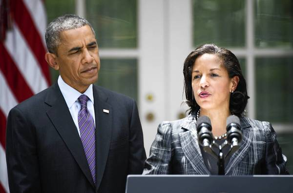 Newly appointed National Security Advisor Susan Rice (right) speaks after President Barack Obama appointed her during an event in the Rose Garden at the White House on June 5.