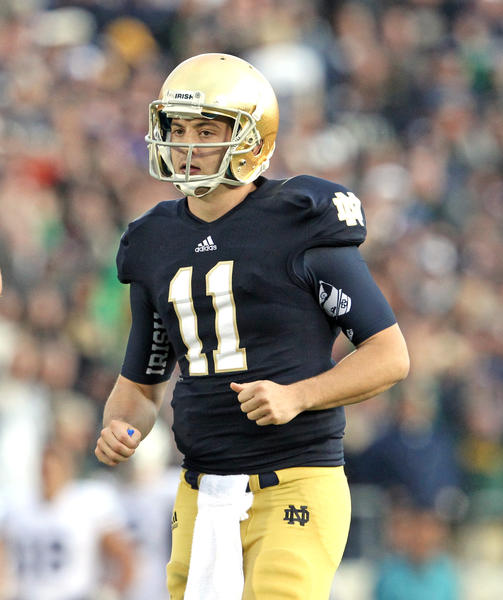 Notre Dame quarterback Tommy Rees during the second half of the game against the Brigham Young Cougars at Notre Dame Stadium, in South Bend, Indiana, on Saturday, October 20, 2012.