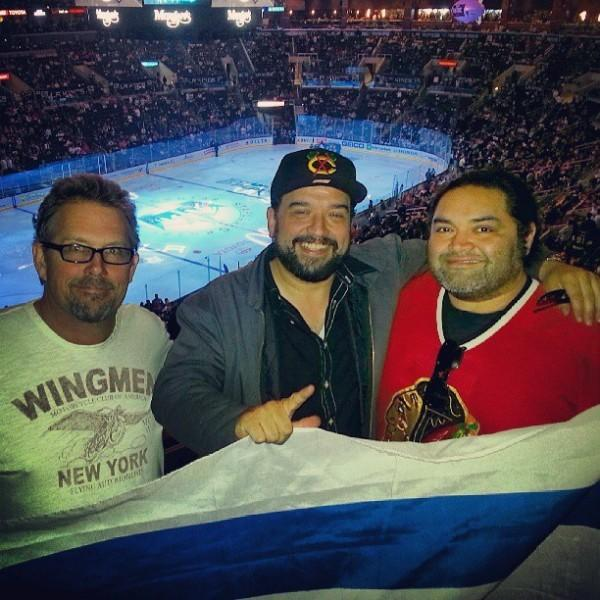 Joe Nunez (right), Horatio Sanz (center) and Pat Walsh at a Blackhawks game at the Staples Center in L.A.