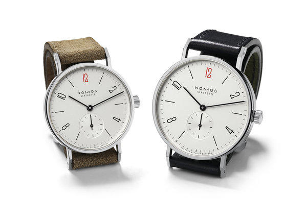 The sale of each limited-edition NOMOS Glashütte Tangente 33mm watch, left, and Tangente 38mm will mean a $100 donation to the U.S. branch of the international humanitarian organization Doctors Without Borders.