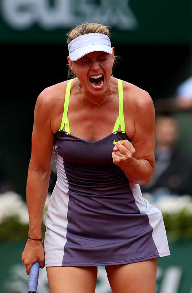 Maria Sharapova celebrates a point in her women's singles semifinal match against Victoria Azarenka of Belarus on June 6 in Paris.