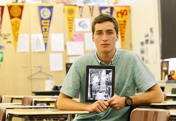 "Laguna Beach High School senior Jack Winter organized content from his economics class into an online magazine, readable on the iPad, reminiscent of ""The Economist."""
