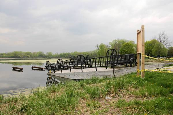 The fishing pier at Butler Lake in Libertyville was detached from its moorings during the April floods.