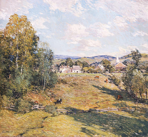 New England Afternoon was painted about 1909 by American artist Willard Metcalf (1858-1925). The oil on canvas was a gift to William and Anna Singer who, in turn, gave it to the Washington County Museum of Fine Arts, where it remains on display today.