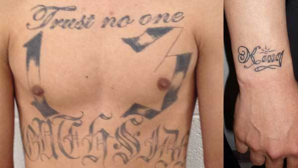 Gang tattoos on two of 18 people arrested this week in the Chicago area by ICE officials.