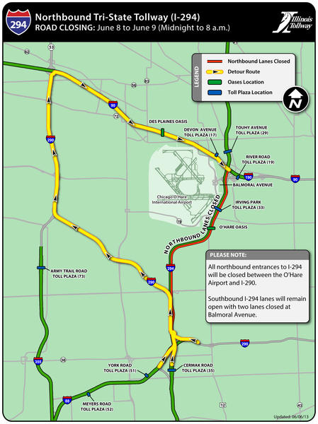Detour map for Tri-State Tollway (I-294) closing.