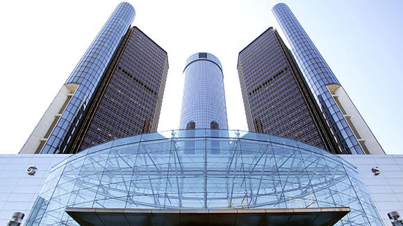 The exterior of General Motors world headquarters in Detroit.