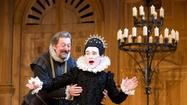 "Mark Rylance as Olivia, right, and Stephen Fry as Malvolio during a performance of William Shakespeare's ""Twelfth Night."""