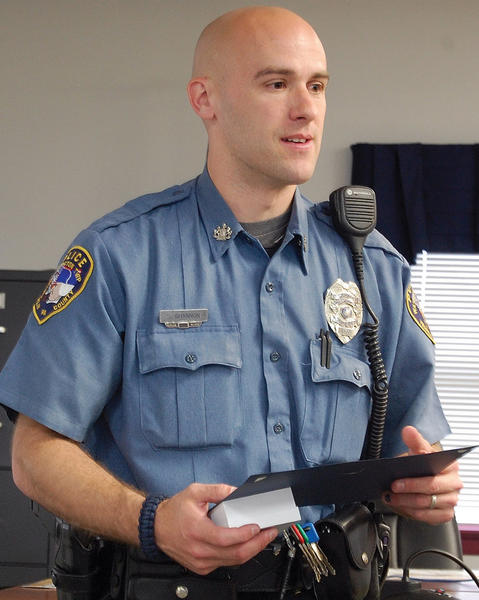 Washington Township (Pa.) Police Officer Stephen Shannon was honored Thursday for his efforts to crack down on aggressive driving.
