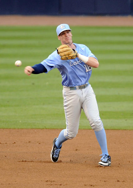 May 25, 2013; Durham, NC, USA; North Carolina Tar Heels third baseman Colin Moran (18) throws out a runner at first during their game against the North Carolina State Wolfpack during the ACC baseball tournament at Durham Bulls Athletic Park. Mandatory Credit: Liz Condo-USA TODAY Sports ORG XMIT: USATSI-133684