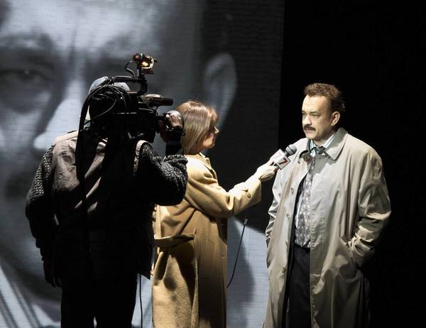 """Tom Hanks, right, in """"Lucky Guy"""" at Broadhurst Theatre in New York."""