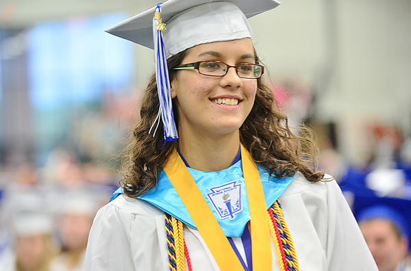Williamsport High School Valedictorian Amanda Brechbill walks up to the stage to deliver her graduation address Thursday during Williamsport High School's commencement at Hagerstown Community College's Athletic Recreation and Community Center.