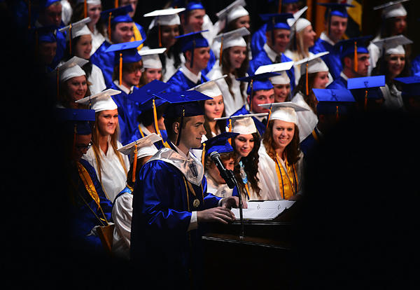 Clear Spring High School Valedictorian Sean Kreps speaks Thursday night at commencement.