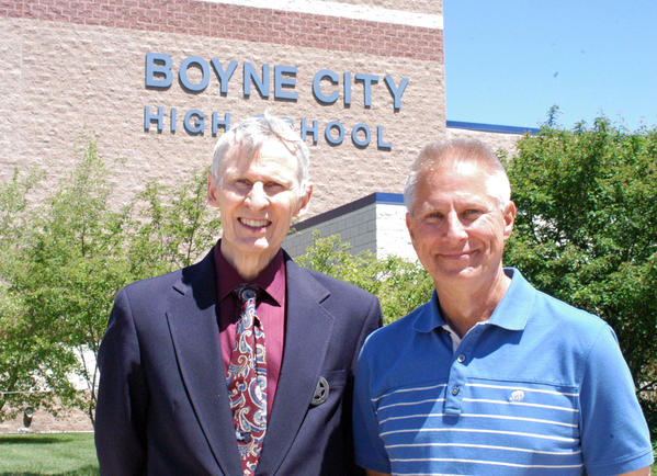 Joe Leach (left) and Tom Nagurka carpooled from Little Traverse Township to their jobs as teachers at Boyne City Public Schools for the past 35 years. The two men are retiring and their last day of work is today, Friday. Leach has been a teacher for 49 years and Nagurka for 38.