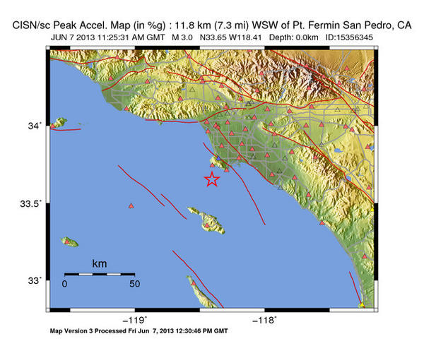 A map showing a magnitude 3.0 earthquake that struck off the coast of Ranchos Palos Verdes Friday morning. The triangles dotting the landscape are stations that sensed the event.