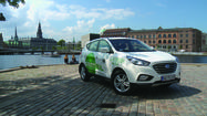Hyundai Motor Co. rolled out the first 15 of its hydrogen-powered ix35 sport utility vehicles headed to  Copenhagen this week. But part of the news for U.S. drivers interested in the technology was the fact that the event was in Europe and not here.