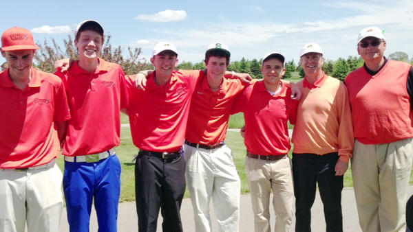 The Harbor Springs boys golf team finished runner-up Thursday at the Division IV regional tournament at Spruce Run at Grand Traverse Resort to qualify for the Division IV state finals June 14-15. Team members are (from left) Bennett Langton, Adam Cavitt, Stew Bower, James Adams, Ben Arnold, coach Pete Kelbel and assistant coach Joe Breighner.