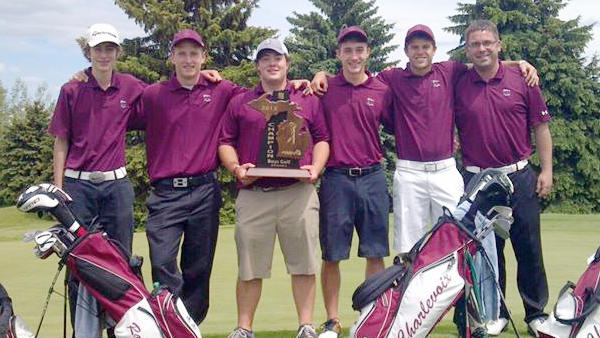 The Charlevoix High School boys golf team won the Division III regional title Thursday at Lakeside Links in Ludington Thursday and will play in the Division III state finals June 14-15 at Bedford Valley in Battle Creek. Team members are (from left) Noah Jeakle, Chandler Novotny, Corbin Turkelson, Brad Rizzo, Tanner Catt and coach Keith Grunch.