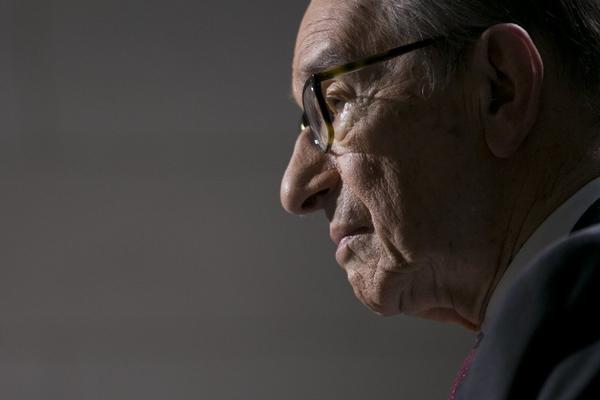 Former Federal Reserve Chair Alan Greenspan pauses during a Bloomberg Television interview at the International Monetary Fund and World Bank Group spring meetings in Washington, D.C.