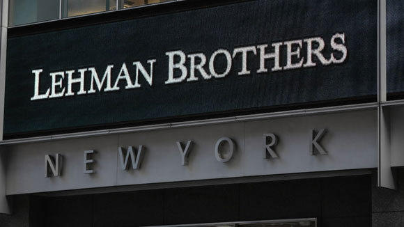 The Lehman Brothers sign is shown at its New York headquarters in September 2008.