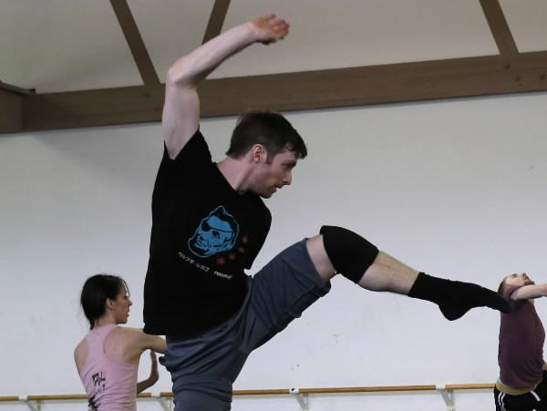 Garrett Patrick Anderson, center, and other dancers rehearse at the Hubbard Street Dance Chicago studios for the New Works Festival at the Museum of Contemporary Art in Chicago.