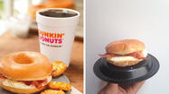 Nailed it? The promotional image for the Dunkin Donuts glazed donut breakfast sandwich, compared to a photo of ours.