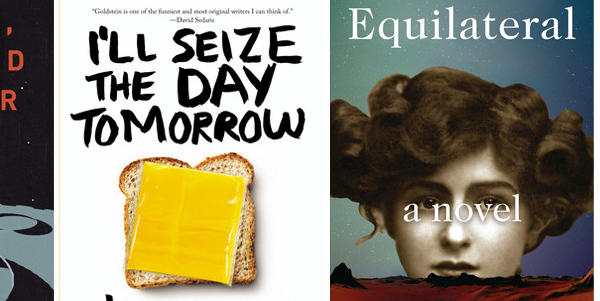 "The covers of ""Scatter, Adapt, and Remember,"" ""I'll Seize the Day Tomorrow"" and ""Equilateral."""