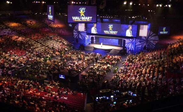 Shareholders fill Bud Walton Arena on the University of Arkansas campus for the annual Wal-Mart shareholders' meeting in Fayetteville, Ark.