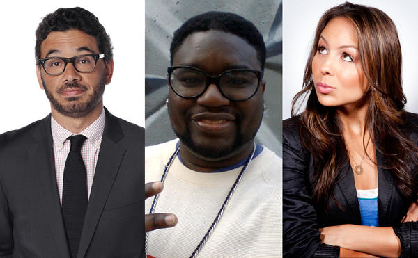 Left to right: Al Madrigal, Lil Rel and Angelah Johnson