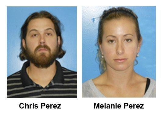 The booking photos, provided by the Rocky River, Ohio, Police Department, show Cleveland Indians relief pitcher Chris Perez and his wife, Melanie.