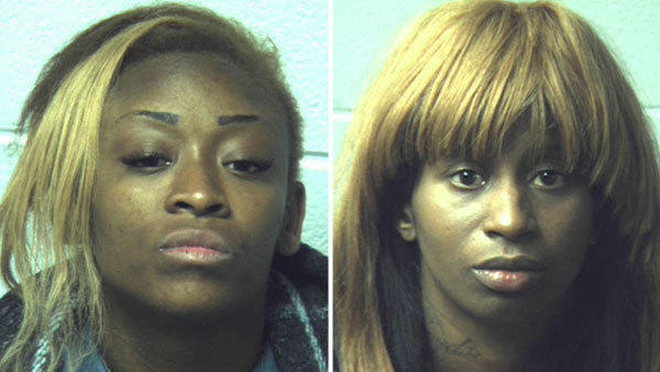 Denisha Pauline Robbins, 29, left and Crystal Johnson, 19, both of East Stroudsburg, are accused of using foil-lined bags to thwart a security system at Best Buy in Bethlehem Township.