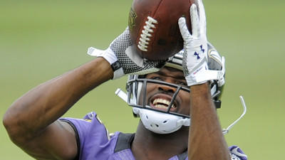 Harbaugh impressed with Torrey Smith's skills, leadership