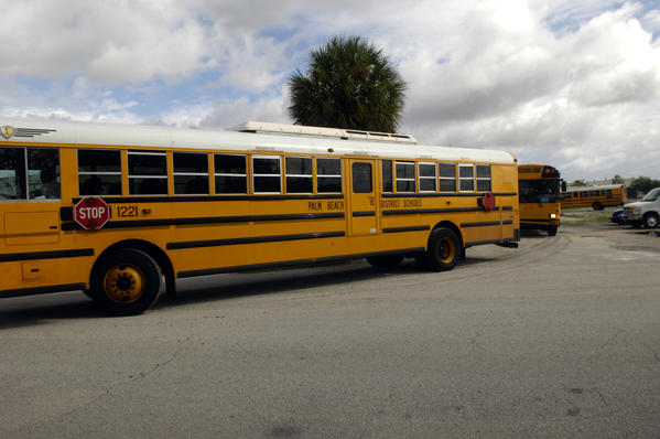 Thirty Palm Beach District Schools buses took part in a practice evacuation of the glades communities Friday morning. Officials are preparing for the evacuation of residents in the event of a failure of the Herbert Hoover Dike surrounding Lake Okeechobee.