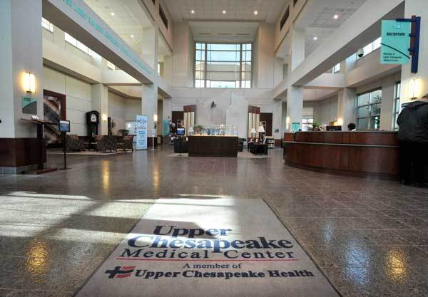 The main lobby of the Upper Chesapeake Medical Center, a member of Upper Chesapeake Health in Bel Air.