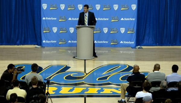 UCLA Coach Steve Alford speaks to the media on April 2.