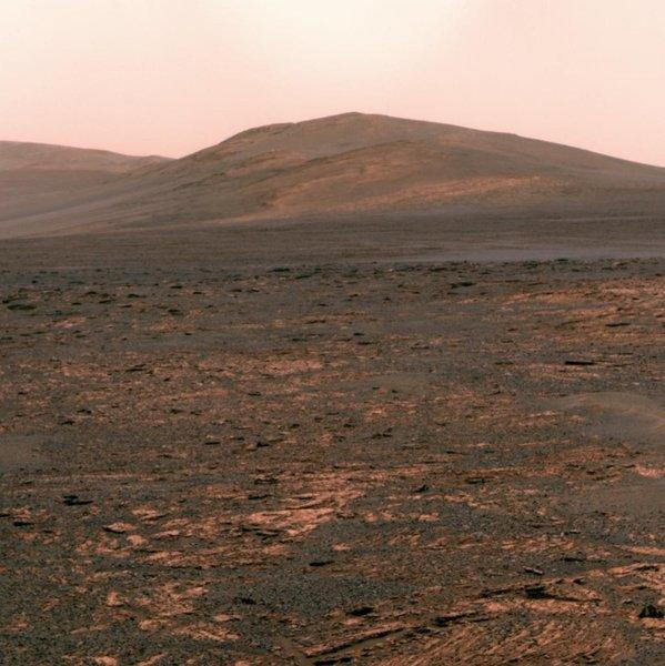 NASA's Mars exploration rover Opportunity uses its panoramic camera to view its next destination, Solander Point, whose layers could hold more evidence of Mars' watery history.