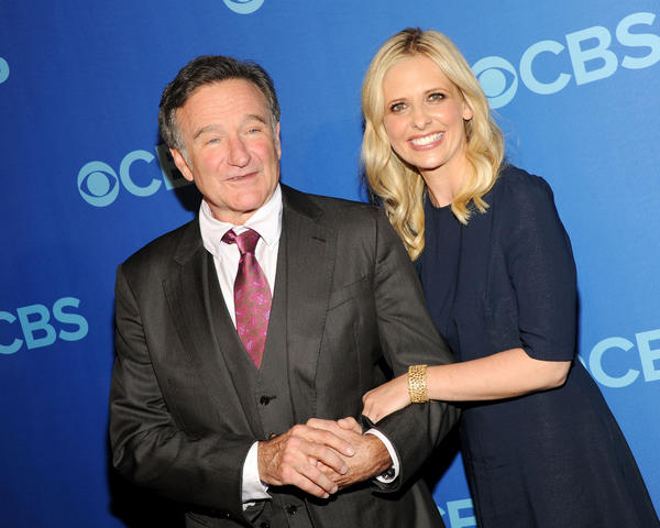 "CBS is close to finishing its spring advertising sales. Above, Robin Williams and Sarah Michelle Gellar -- stars of the upcoming CBS sitcom ""The Crazy Ones"" -- at the CBS upfront presentation party in New York."