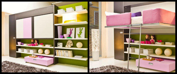 The Lollibook made by Clei is shown at left with the bed (the white panel above the doll shelves) flipped up. At right, the loft bed flipped down. The design starts at $4,800 through Resource Furniture. A similar design called the Poppi Book positions the bed below the shelves.