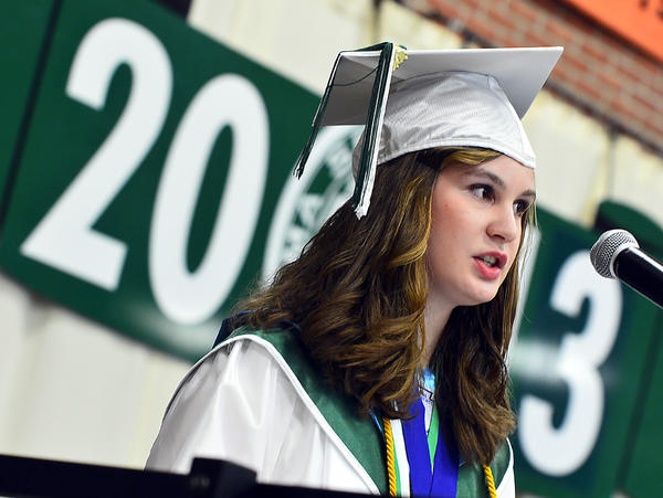 South Hagerstown High School Valedictorian Stephanie E. Young delivers the commencement address Friday.