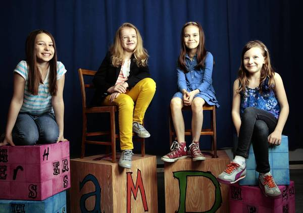 "The four young actresses playing the title role in the Broadway musical ""Matilda"" are Bailey Ryon, left, Milly Shapiro, Oona Laurence and Sophia Gennusa."