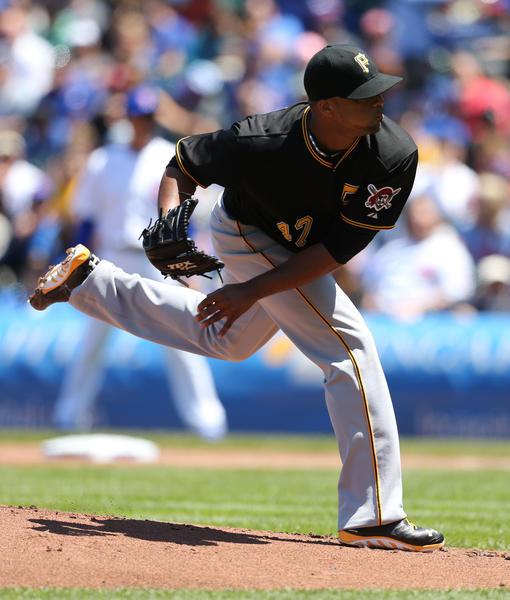 Pirates left-hander Francisco Liriano deals against the Cubs on Friday. (Phil Velasquez /Tribune Photo)