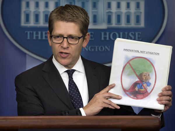 White House Press Secretary Jay Carney, speaking to reporters Tuesday, discusses steps to target so-called patent trolls.