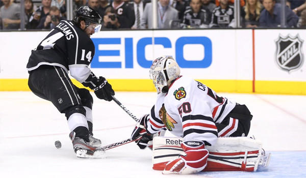 The Kings are 1-7 on the road during this postseason, but down 3-1 to the Blackhawks, Justin Williams says the team isn't scared, they just need to win two games at the United Center.