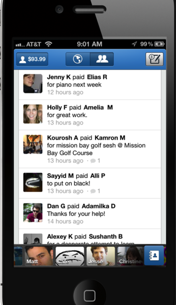 The Venmo app uses a social feed to show when friends pay one another.