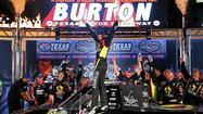 Jeb Burton got his first career NASCAR Truck Series victory, holding off a hard-charging Ty Dillon to win at Texas Motor Speedway on Friday night.